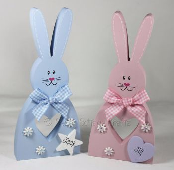 Personalised Freestanding Bunny with cut out heart