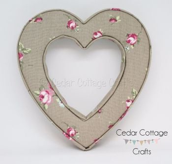 Fabric Covered Padded Hollow Heart
