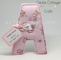 Fabric Covered Padded Letters with name tag for new baby