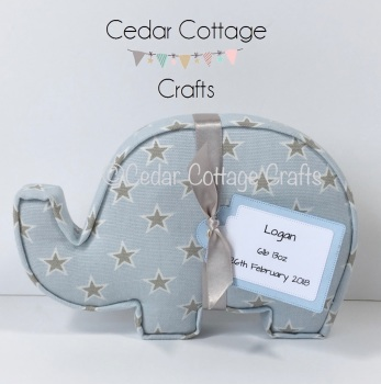 Fabric Covered Padded Elephant with tag for new baby