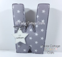 EXTRA LARGE  Fabric Covered Padded Letters with heart/star gift tag