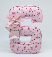 Fabric Covered Padded Letters with star/heart name tag