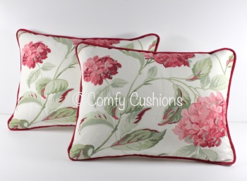 Laura Ashley Hydrangea Cranberry cushions