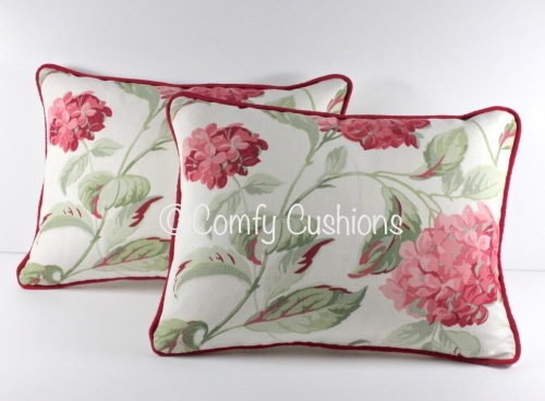 Laura Ashley Hydrangea Cranberry cushion covers