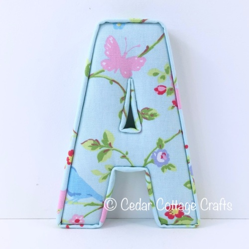 Fabric Covered Padded Letter A - Birdtrail Seafoam