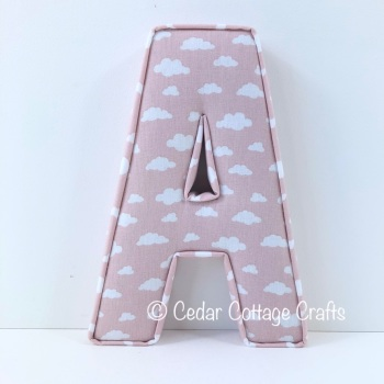 Fabric Covered Padded Letter A - Clouds in Porcelain Pink