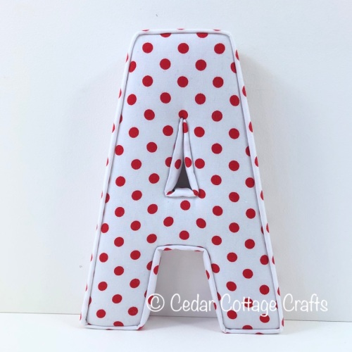 Fabric Covered Padded Letter A - Dots - Red on White
