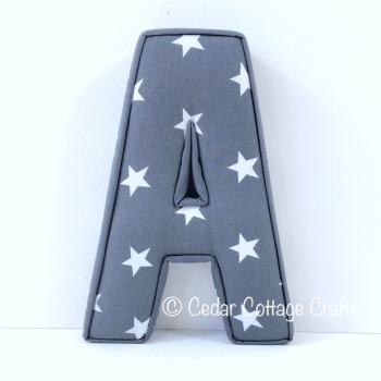 Fabric Covered Padded Letter A - Stars - White on Charcoal