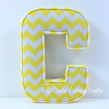 Fabric Covered Padded Letter C - Chevron Yellow