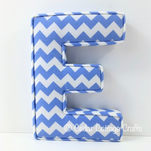 Fabric Covered Padded Letter E- Chevron Powder Blue