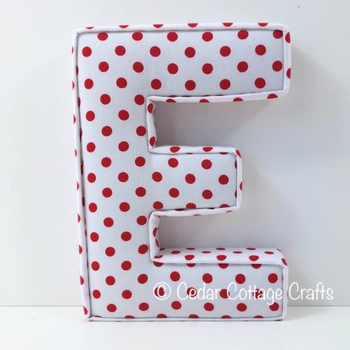 Fabric Covered Padded Letter E- Dots - Red on White