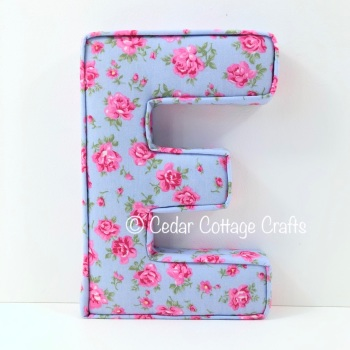 Fabric Covered Padded Letter E- Tea Party Roses in Blue