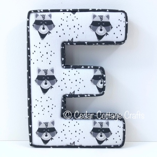 Fabric Covered Padded Letter E- Wild West Racoon