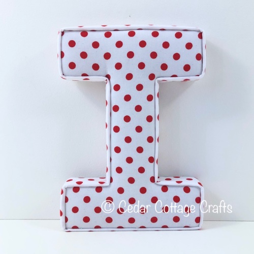 Fabric Covered Padded Letter I - Dots - Red on White