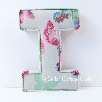 Fabric Covered Padded Letter I - Dots - Vintage Butterflies