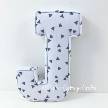 Fabric Covered Padded Letter J - Triangles Grey on White
