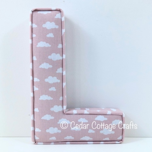 Fabric Covered Padded Letter L - Clouds in Porcelain Pink