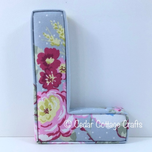 Fabric Covered Padded Letter L - English Rose in Grey
