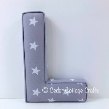 Fabric Covered Padded Letter L - Stars - White on Grey