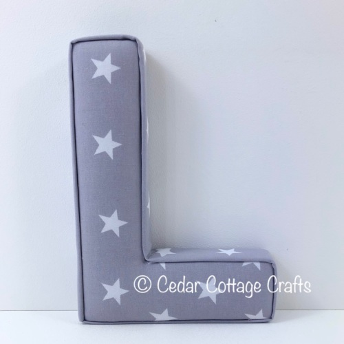 Fabric Covered Padded Letter L - Stars - White on Charcoal