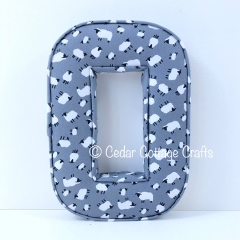 Fabric Covered Padded Letter O - Sheep in Grey