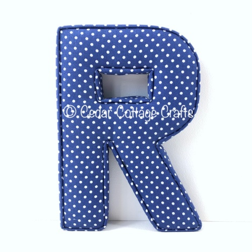 Fabric Covered Padded Letter R - Polka Dot Navy