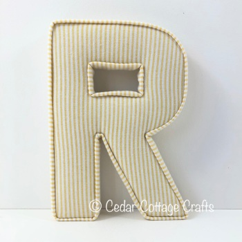 Fabric Covered Padded Letter R - Thin Stripe in Yellow