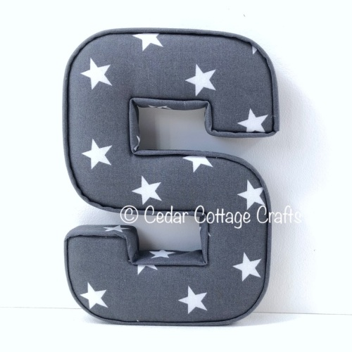 Fabric Covered Padded Letter S - Stars - White on Charcoal