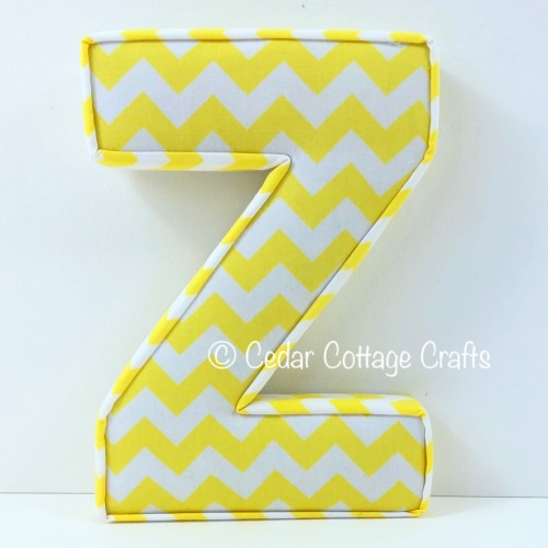 Fabric Covered Padded Letter Z - Chevron Yellow