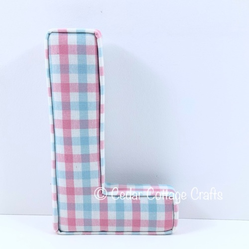 Fabric Covered Padded Letter L - Clouds in Pink & Blue check fabric
