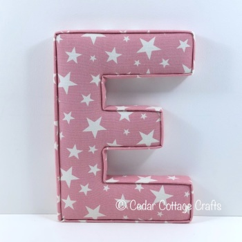EXTRA LARGE CHUNKY Fabric Covered Letters E - Apollo Stars Pink