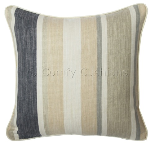 Laura Ashley Awning Stripe Charcoal cushion cover