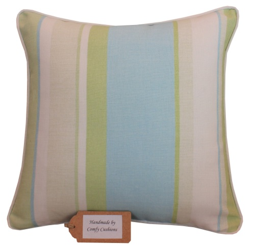 Laura Ashley Eaton Stripe Apple & Topaz cushion cover
