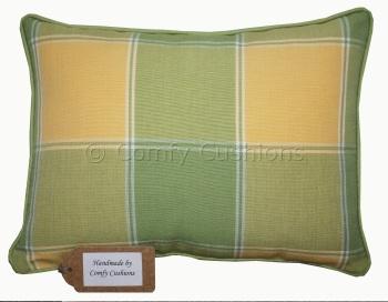 Laura Ashley Mandalay Check Apple & Cowslip cushion