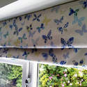 roman blind in blue butterfly fabric