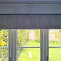 roman blind in silver fabric