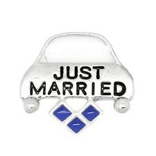Just Married Floating Locket Charm