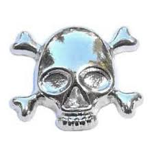 Skull & Crossbones Floating Locket Charm
