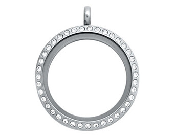 30mm Stainless Steel Floating Locket With Clear Crystals