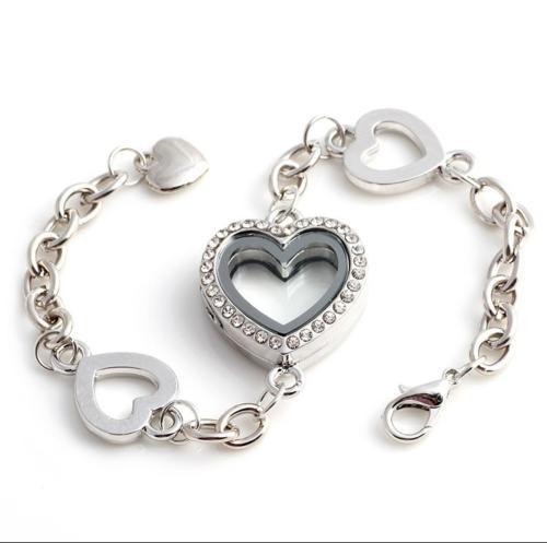 Silver Crystal Heart Floating Locket Bracelet