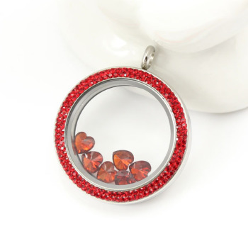 Red Double Crystal Floating Locket