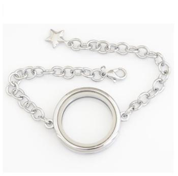 30mm Stainless Steel Floating Locket Bracelet Plain