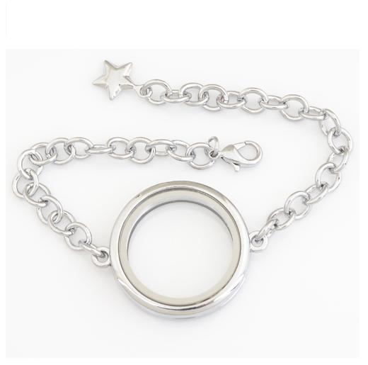 30mm Sainless Steel Floating Locket Bracelet Plain