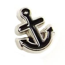 Black Anchor Floating Locket Charm