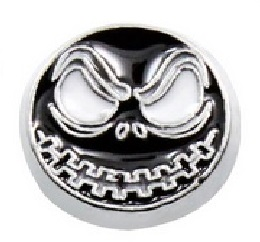 Skully Black Skull Floating Locket Charm