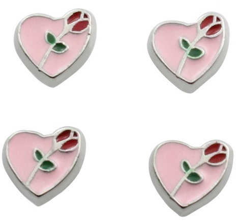 Heart With Rose Floating Locket Charm