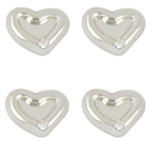 Silver Heart with White Rhinestone Floating Locket Charm