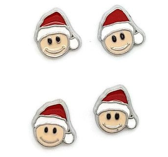 Smiley Santa Floating Locket Charm