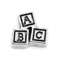 ABC Building Blocks Floating Locket Charm