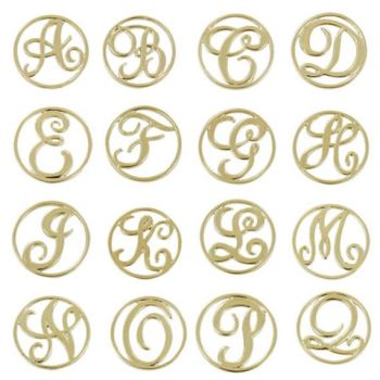 Monogram Silver Letter Floating Locket Back Plate